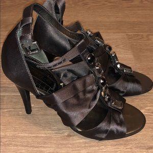 BCBG Strappy Grey Satin. Size 6 1/2. 3 in heels
